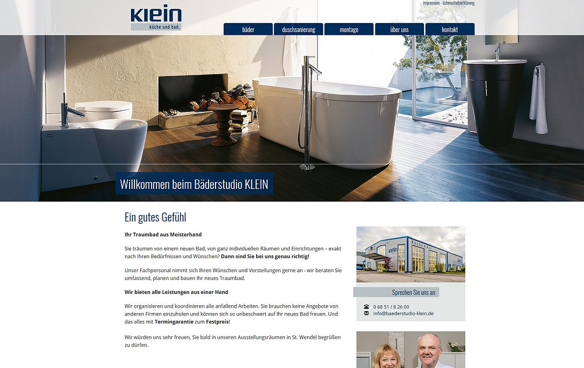 Webdesign Referenzen: Bäderstudio Klein